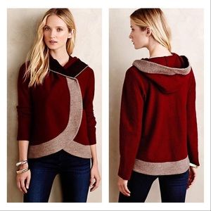 Anthropologie Colorblock Wool Sweater Jacket S/M